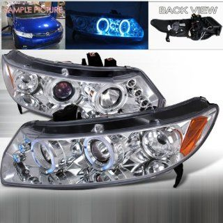 06 07 08 09 10 Honda Civic 2doors Halo Projector Headlights   Chrome (Pair): Automotive