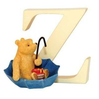 Classic Pooh Classic Winnie The Pooh   Alphabet Letter Z   Pooh In Umbrella   Collectible Figurines