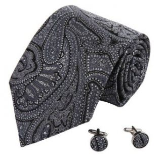 A8011 Black Wedding Ties Patterned Woven Silk Present Box Set 2PT By Y&G at  Men�s Clothing store: Neckties