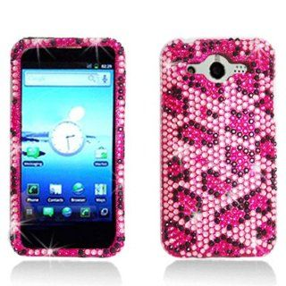 PINK LEOPARD Rhinestone/Crystal/Bling/Diamond Hard Case Cover For Huawei Mercury M886 (Cricket): Cell Phones & Accessories