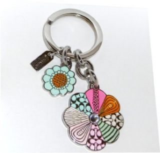 COACH Pave Crystal Signature Patchwork Daisy AND Sunflower Keychain Keyring w/ Charms Style 92862: Clothing