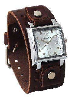 Nemesis #BBB516S Men's Dark Brown Wide Leather Cuff Band Analog Silver Dial Watch at  Men's Watch store.
