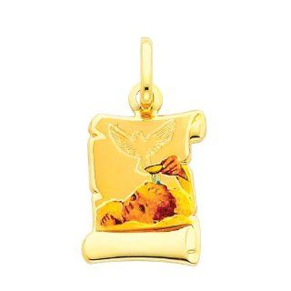 14K Yellow Gold Religious Baptism Enamel Picture Charm Pendant: Goldenmine: Jewelry