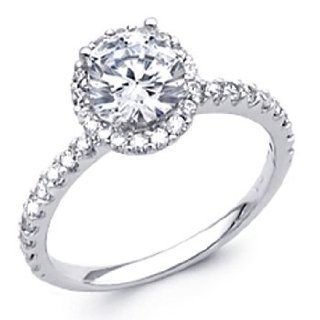 14K White Gold Round with Side Stone Top Quality Shines CZ Cubic Zirconia 1.25 CT Equivalent Ladies Wedding Engagement Ring Band: The World Jewelry Center: Jewelry