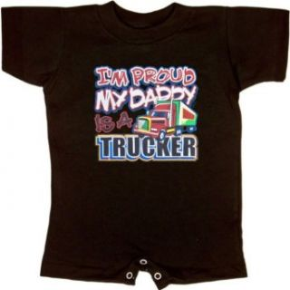 INFANT ROMPER : LIGHT BLUE   24 MONTHS   Im Proud My Daddy Is A Trucker   Tracking Truck Driver   for Son or Daugther: Clothing