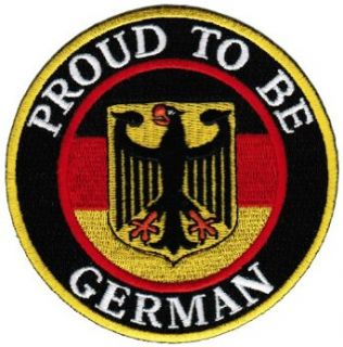 Proud To Be German Embroidered Patch Germany Eagle Flag Iron On Biker Aufn�her Emblem: Clothing