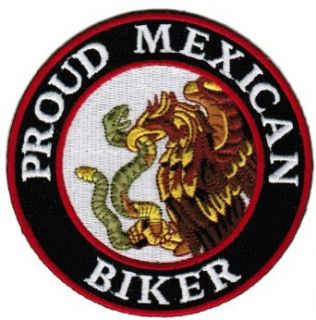 Proud Mexican Biker Embroidered Patch Mexico Flag Iron On Motorcycle Emblem: Clothing