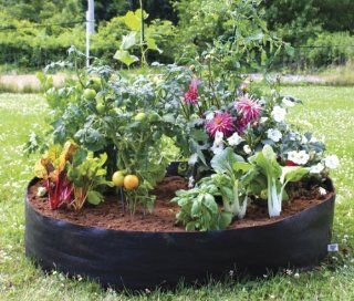 "Raised Garden Bed  Circular Fabric  Portable   50""Diameter x 12"" High  Fabric material lets roots breathe & provides drainage Unfold, Fill, and Grow! Made in USA : Raised Garden Kits : Patio, Lawn & Garden"