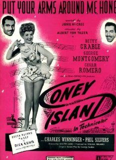 "Put Your Arms Around Me Honey Vintage 1937 Sheet Music from ""Coney Island"" with Betty Grable, George Montgomery, Cesar Romero"
