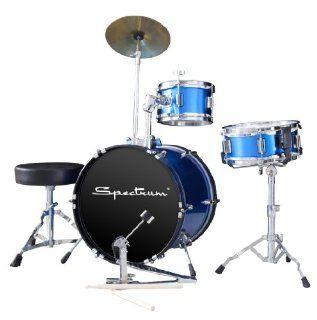 Spectrum AIL 662BK 3 Piece Junior Drum Set with 10 Inch Crash Cymbal and Drum Throne, Midnight Black: Musical Instruments