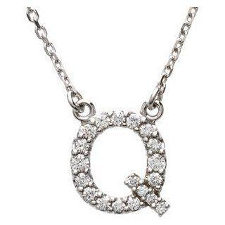 "14k White Gold Diamond Alphabet Letter Q Necklace (1/6 Cttw, GH Color, l1 Clarity), 16.25"": Simbolo Collection: Jewelry"