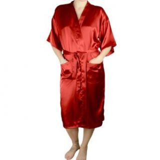 Women's Satin Silky Satin Robe   Rich Red   Medium at  Women�s Clothing store