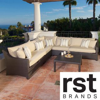 RST Slate 6 piece Corner Sectional Sofa and Coffee Table Set Patio Furniture Outdoor Model OP PESS6 SLT K RST Brands Sofas, Chairs & Sectionals