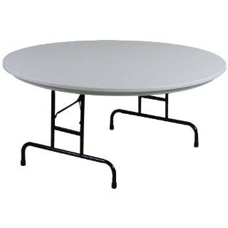 """Correll RA60 23 R Series Blow Molded Plastic Adjustable Height Commercial Duty Folding Table, Round, 60"""" Diameter, Gray Granite Industrial & Scientific"""