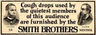 1924 Ad Smith Brothers Cough Drops SB Menthol Theatre   Original Print Ad