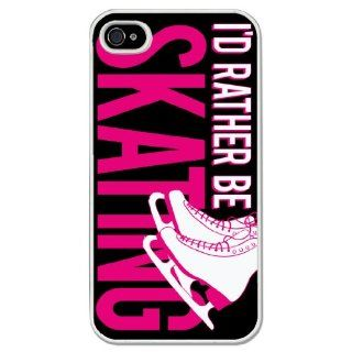 I'd Rather be Figure Skating iPhone Case (iPhone 4/4S) with Black Background: Cell Phones & Accessories