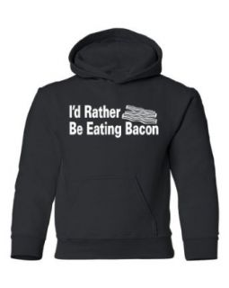 Tasty Threads I'd Rather Be Eating Bacon Kids Hooded Sweatshirt: Clothing