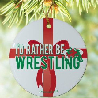 Wrestling Porcelain Ornament I'd Rather Be Wrestling: Sports & Outdoors