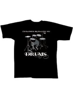 CloseoutZone Men's Id Rather Be Playing My Drums T Shirt Percussion Musicians: Clothing
