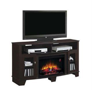 Fireplace Twin Star Classic Flame La Salle Media Console Electric Fireplace in Midnight Cherry   Heating Vents