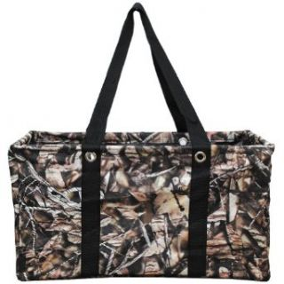 All Purpose Carry It All Large Collapsible Camo Print Utility Tote Bag (Brown): Clothing