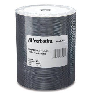 Verbatim 4.7 GB up to 16x DataLifePlus White Inkjet Hub Printable Recordable Disc DVD R 100 Disc Tape Wrap  97016: Electronics