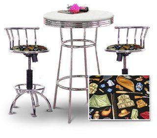 "36"" Tall Chrome Bar Table & 2 Adjustable 24"" 29"" Camping Equipment Fabric Seat Barstools   Home Bars"