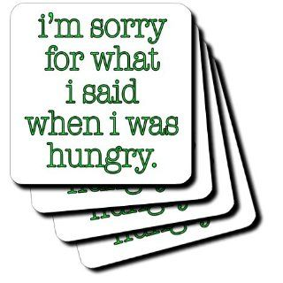 cst_171958_3 EvaDane   Funny Quotes   Im sorry for what I said when I was hungry. Lime Green. Food Lover.   Coasters   set of 4 Ceramic Tile Coasters: Kitchen & Dining