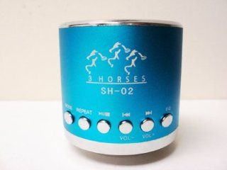 Mini Portable Speaker 3 horses MN 02 with FM (Light Blue) : Boomboxes : MP3 Players & Accessories