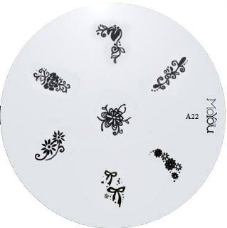 MoYou Nail Art Image Plate A22 including 7 nailart designs on metal stencil, easy to apply, amazing results, accessories for women : Nail Art Equipment : Beauty