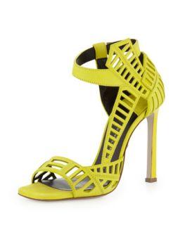 Mahima Square Toe Cutout Sandal, Lime   Daniele Michetti   Lime (35.0B/5.0B)