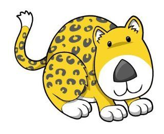 Children's Wall Decals   Cartoon Baby Leopard   12 inch Removable Graphics (4 same)   Prints