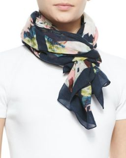 Peabody Square Wool Wallpaper Floral Print Scarf, Black/Yellow/Pink   Erdem
