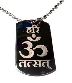 Hindu Lord Saying Hari Om TAT SAT Mantra Meditation AUM Meditate Religion Religious Logo Symbols   Military Dog Tag Luggage Tag Key Chain Metal Chain Necklace: Pet Supplies