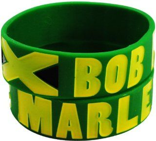 Bob Marley Jamaican Flag Rubber Saying Bracelet (Green): Everything Else