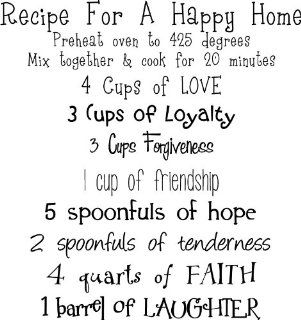 Recipe For A Happy Home wall saying vinyl lettering art decal quote sticker home decal   Wall Decor Stickers