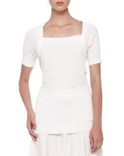 Womens Short Sleeve Shrug Top   Donna Karan   Ivory (LARGE)