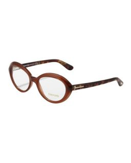 Oval Cat Eye Fashion Glasses, Opal/Brown   Tom Ford   Opal brown