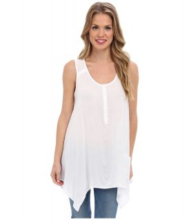 Jones New York Sleeveless Handkerchief Hem Shirt Womens Sleeveless (White)