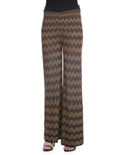 Womens Metallic Zigzag Wide Leg Pants   M Missoni   Gold 824 (38/2)