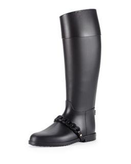Chain Strap PVC Rain Boot, Black   Givenchy   Black (40.0B/10.0B)