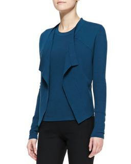 Womens Long Sleeve Drape Front Jacket, Teal   Donna Karan   Teal (PETITE)