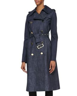 Womens Long Denim Trench Coat   Derek Lam   Indigo (44)