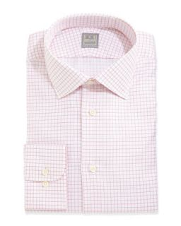 Mens Long Sleeve Graph Check Woven Shirt, Pink/Red   Ike Behar   Red (15 1/2R)