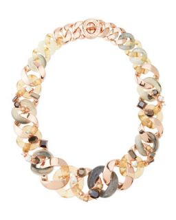 Katie Embellished Metal Turnlock Necklace, Rose Golden   MARC by Marc Jacobs