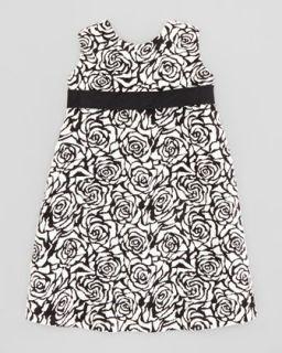 Rose Jacquard Shift Dress, Black/Ivory, 2T 3T   Helena