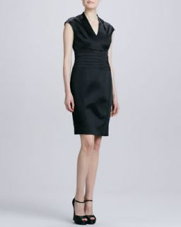 Womens Cap Sleeve Waistband Cocktail Dress   Kay Unger New York   Black (10)