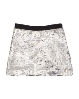 Sequin Miniskirt, Silver, Sizes 2 6   Milly Minis