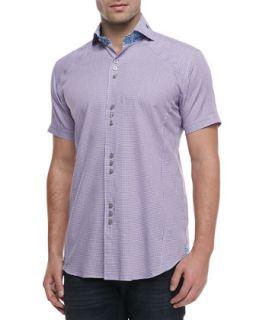 Mens Mini D Matis Jacquard Sport Shirt, Purple   Bogosse   Purple (4/LARGE)