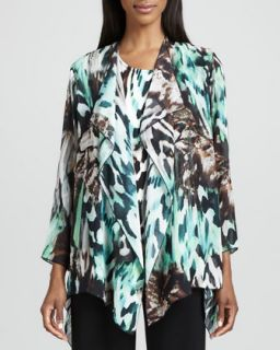 Womens Urban Animal Print Draped Jacket, Petite   Caroline Rose   Multi/Black